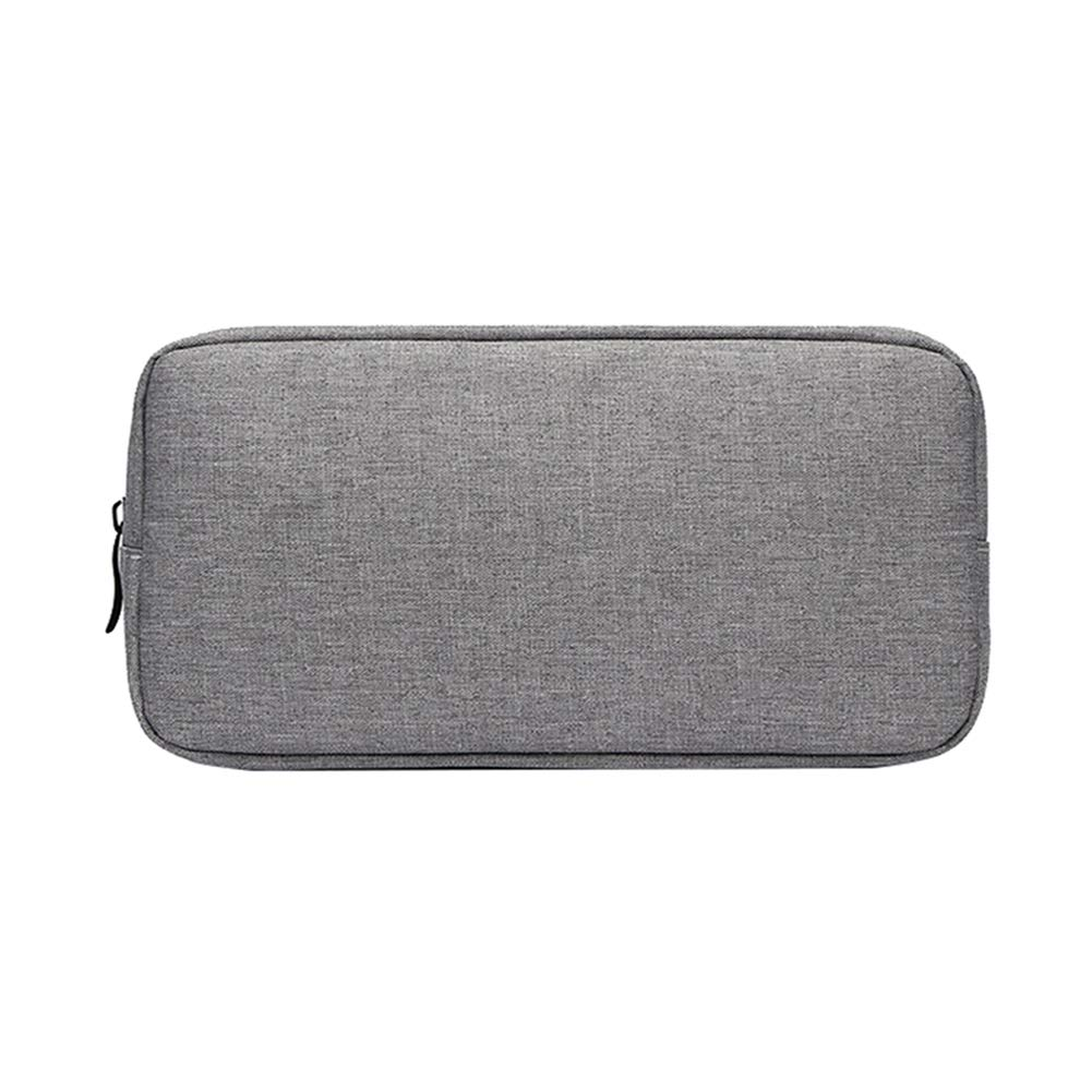 AkoMatial Solid Color Oxford Cloth Travel Storage Container Bag Media Storage for Power Bank Charge Cable Grey Large