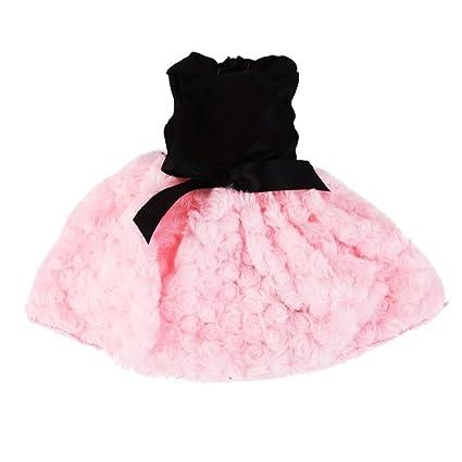 Vestido Falda para Muñecas Chicas Americana de Fiesta Negro Rosa 18 Pulgadas