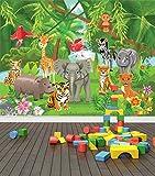 Jungle Animals Wall Mural Photo Wallpaper Safari Kids Bedroom Nursery (X Large 1900mm x 1488mm)