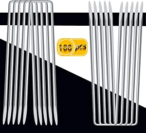 """UPlama 100PCS Garden Anti-Rust Galvanized Ground Staples Landscape Sod Stakes, 6"""" Garden Stakes/Spikes/Pins/Pegs, Anchor Pins U-Shaped Garden Securing Pegs for Anchoring Tents Landscape Fabric."""