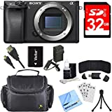 Sony Alpha a6300 ILCE-6300 E-mount 4K Mirrorless Camera Body Bundle includes a6300 Camera Body, 32GB SDHC Memory Card, Battery, Charger, Bag, HDMI Cable, Cleaning Kit, Beach Camera Cloth and More!