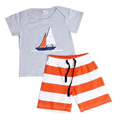 fcf5977e635a Amazon.com  GOTD Boys Kids Set Toddler Sailboat T-Shirt + Striped ...