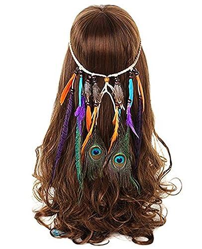 FANHOM Pluma de pavo real Banda para el cabello Tocado Hippie Venda de la borla Nativo americano Fue...