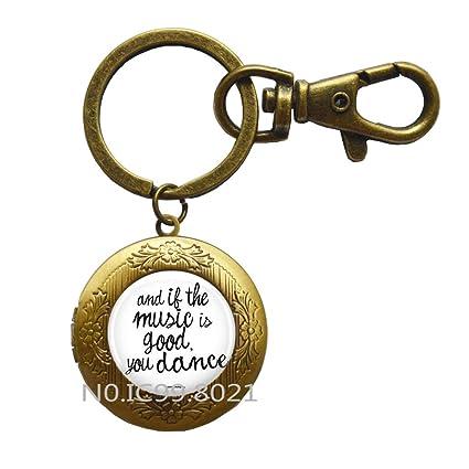 Amazoncom Music And Dance Locket Keychain Concert Quote Locket