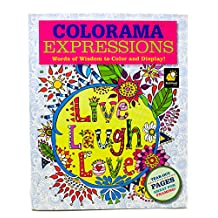 Colorama Expressions Adult Coloring Book, Words of Wisdom to Color and Display, Pencil Set Included