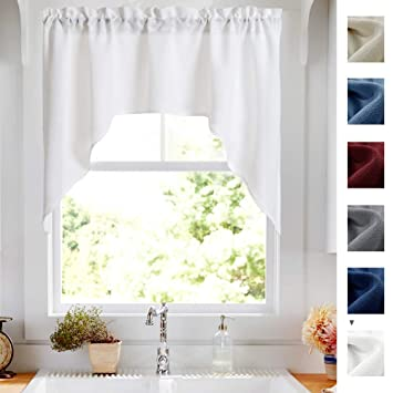 White Swag Valance Semi Sheer Short Curtains Kitchen Casual Weave Cafe  Curtains Half Window Treatments 1 Panel 38\