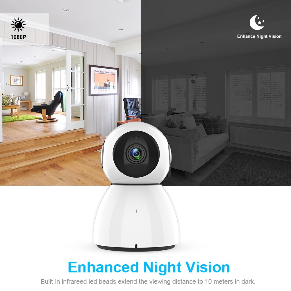 Wireless Security Camera, Sywan 1080P HD WiFi Camera Support Cloud Storage Baby Monitor Home Surveillance Camera with Motion Sounds Detection Two-Way Audio Night Vision,White by Sywan (Image #7)