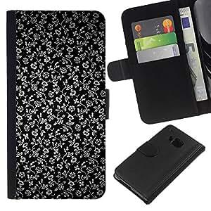 KingStore / Leather Etui en cuir / HTC One M9 / Flores Gris Wallpaper Negro Jardín