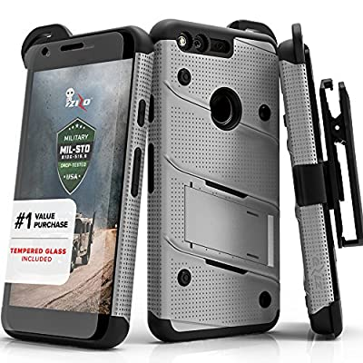 Google Pixel Case, Zizo [Bolt Series] with FREE [Google Pixel Screen Protector] Kickstand [Military Grade Drop Tested] Holster Belt Clip- Google Pixel