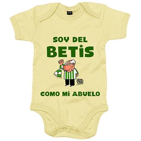 Body bebé Real Betis soy del Betis como mi abuelo - Amarillo, 6-12