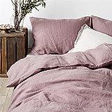 Merryfeel 100% Linen Duvet Cover Set - Full/Queen - Mauve