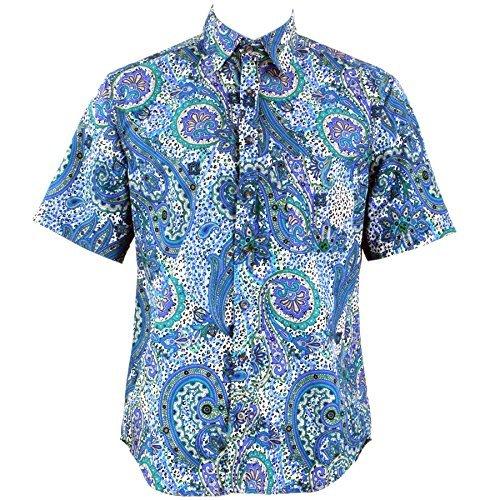 Loud Originals Regular Fit Hemd mit kurzen Ärmeln - blau & grün abstrakt Paisley