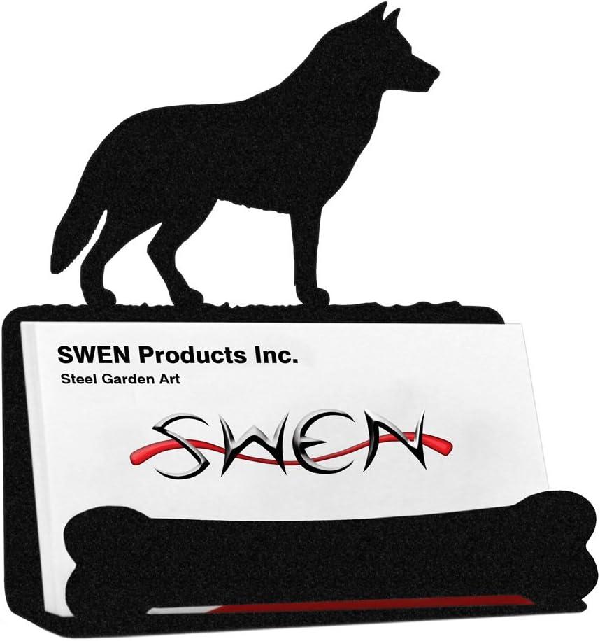 SWEN Products SIBERIAN HUSKY Dog Black Metal Business Card Holder