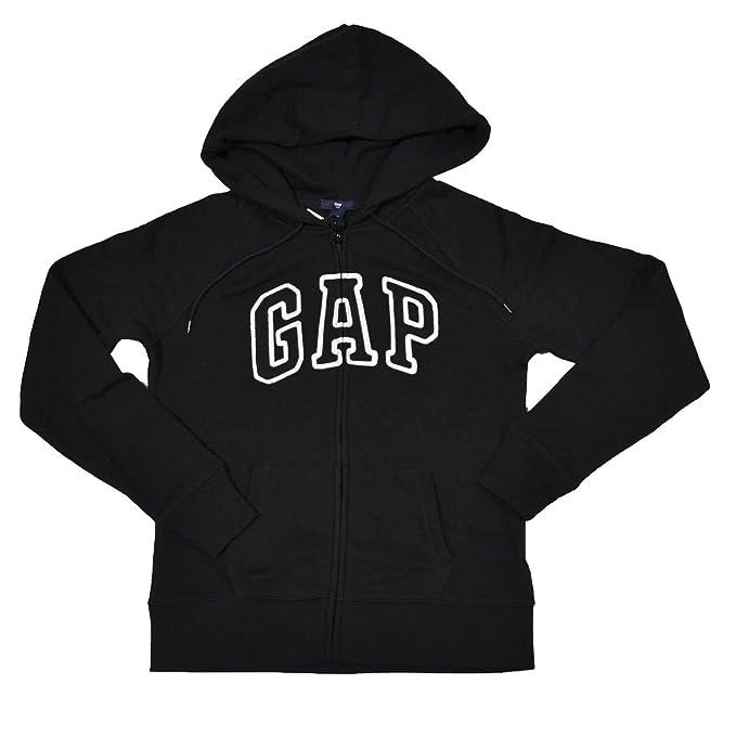 GAP Womens Fleece Arch Logo Sudadera con cremallera completa (X-Large, Negro)