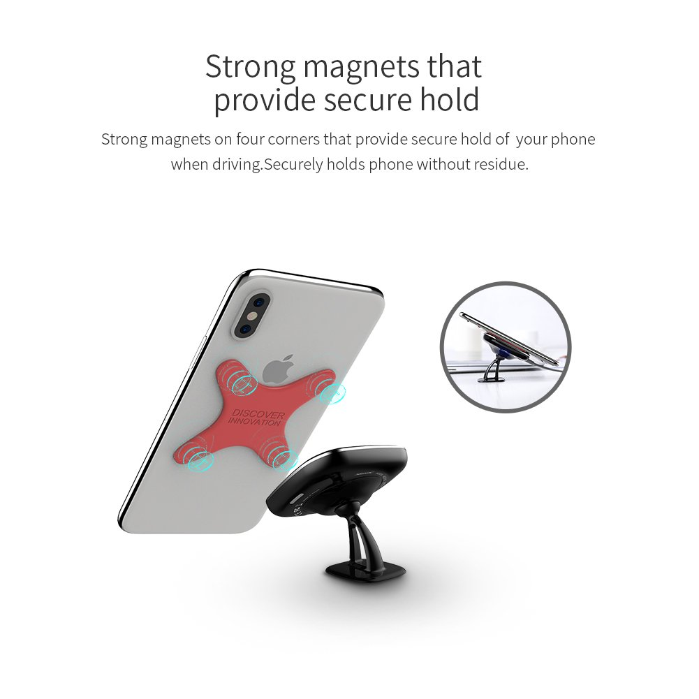 Car Magnetic Wireless Charger Discover Innovation Strong Stickiness Plate, Nillkin X Magnet Plate with Liquid Silicone Skin (Black)