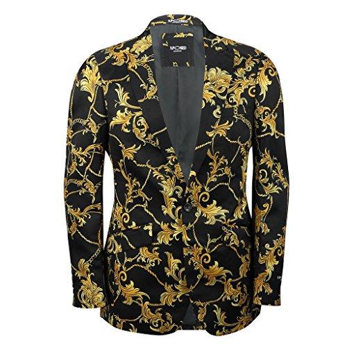 XPOSED MensBlack Gold Floral Brocade Print Fitted Blazer Italian Designer Suit (Black Designer Suit)