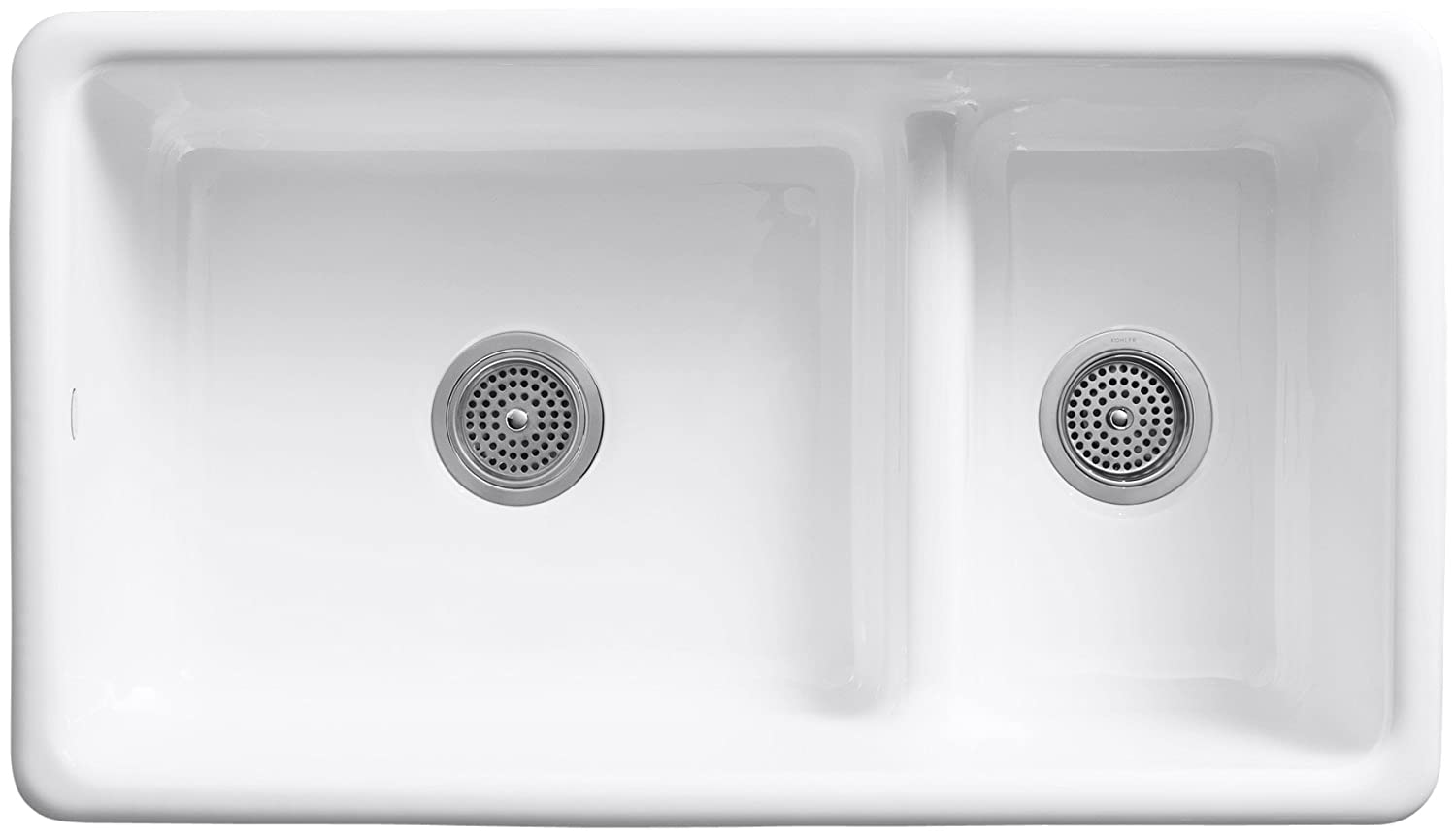 B white kitchen sink KOHLER K 0 Iron Tones Smart Divide Self Rimming or Undercounter Kitchen Sink White White Porcelain Undermount Kitchen Sink Amazon com