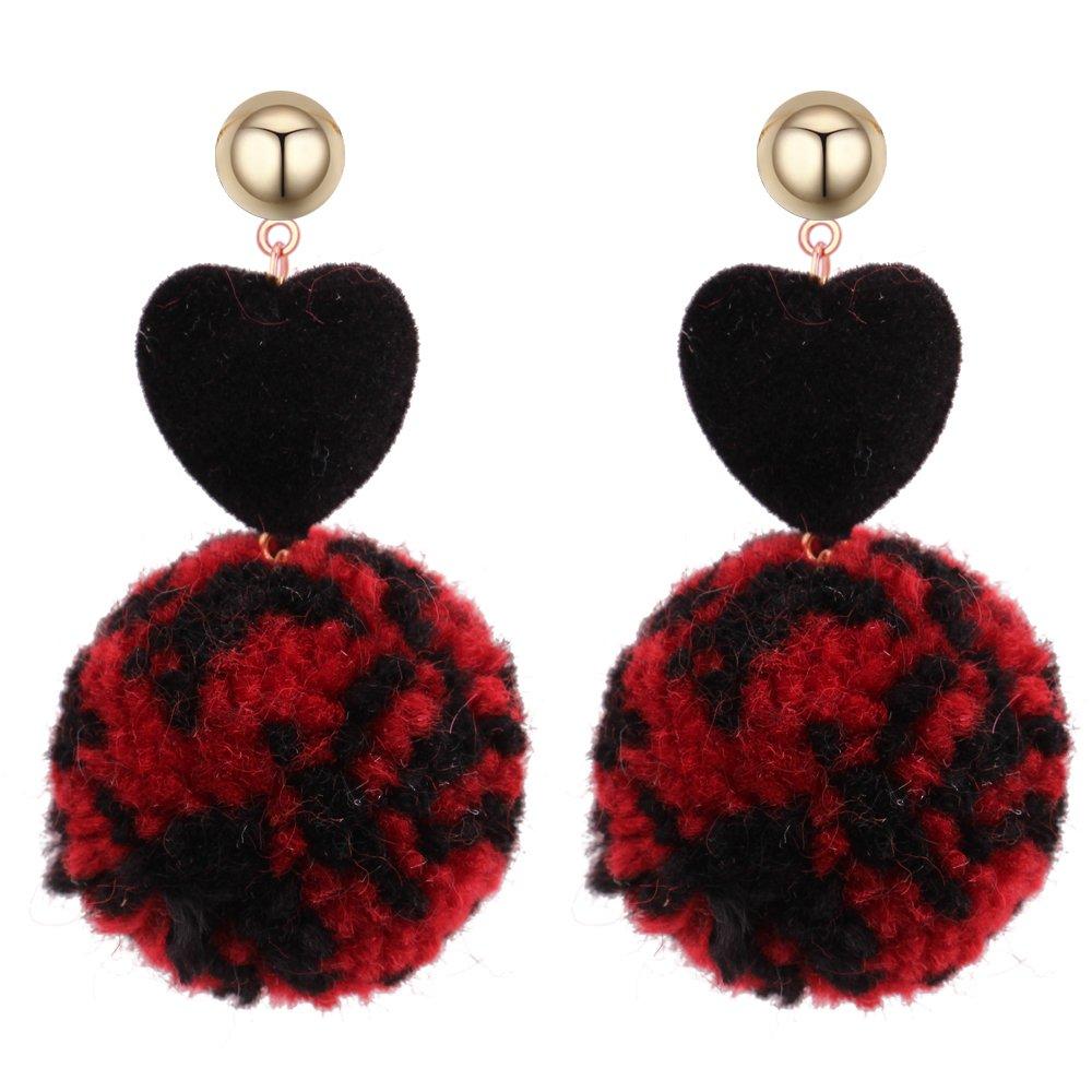 Aibei Simple wild heart ball peach long pierced stud Earrings copper Earring Jewelry