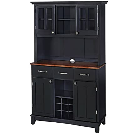 Buffet Hutch Cabinet Wooden Large Country Farmhouse Kitchen Cabinet  Cupboard Two Tone Wood Op And Black
