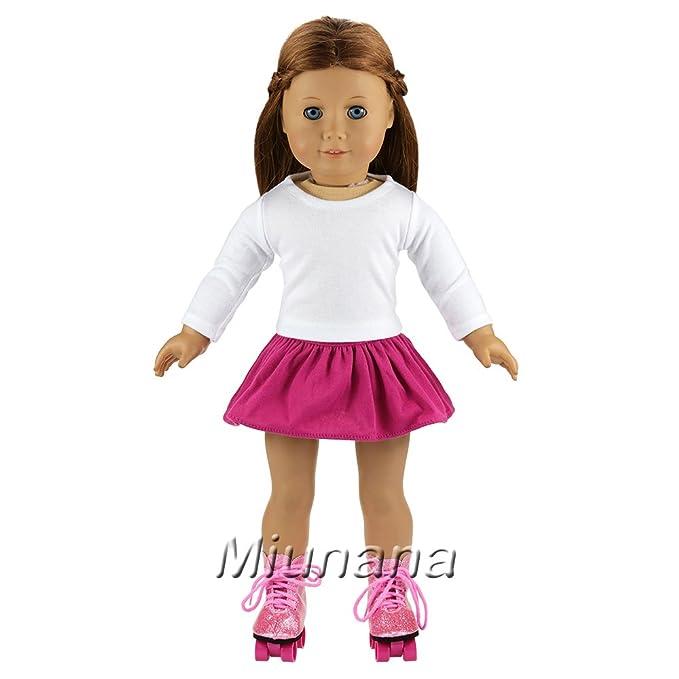 Amazon.es: Miunana 2X Vestidos + 2 Pares Patines Accesorios como Regalo para 18 Pulgadas Muñeca 46 cm American Girl Doll: Juguetes y juegos