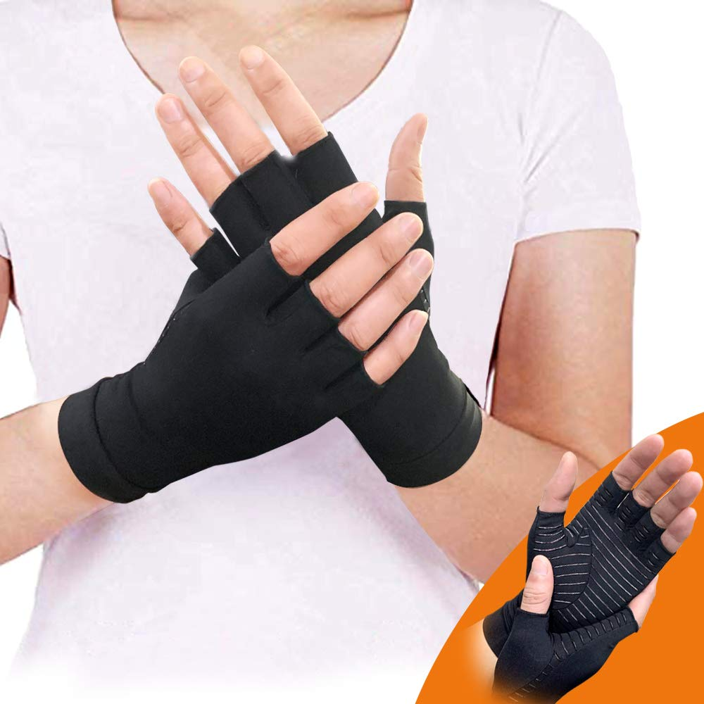 Copper Recovery Gloves Supporting Arthritis Compression, Pain Relief of RSI, Rheumatoid Arthritis Carpal Tunnel,Great for Joints When Sports, Housework,Computer Typing (M)
