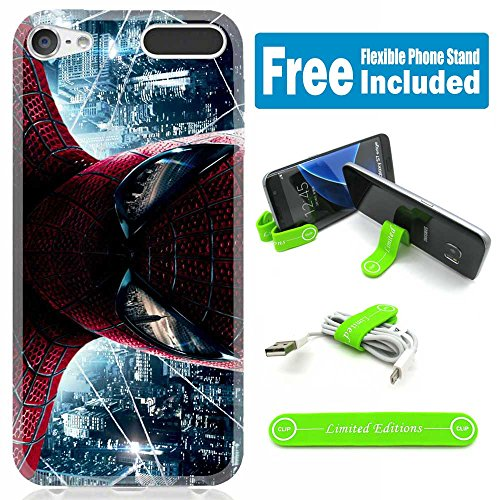 [Ashley Cases] TPU Skin Cover Case for iPod Touch 5th/6th Generation with Flexible Phone Stand - Spiderman Realpix City - Spiderman Case For Ipod