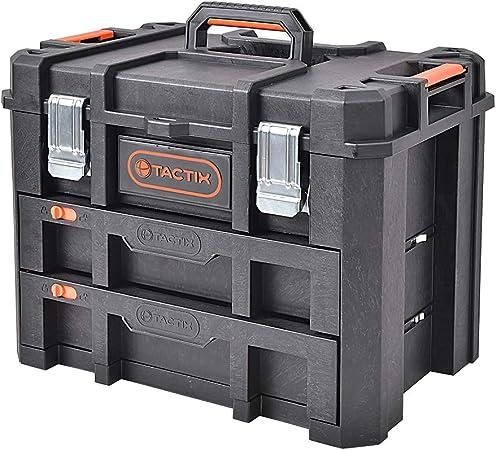 TACTIX - Caja de herramientas con 2 cajones (53 cm): Amazon.es: Bricolaje y herramientas