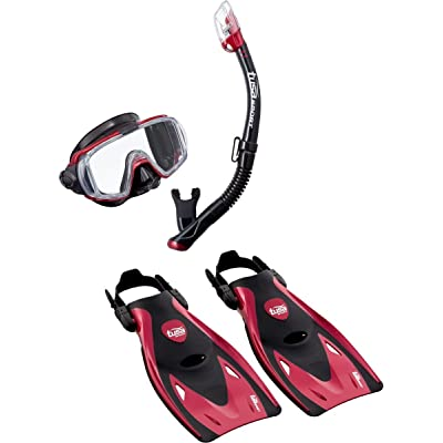 Tusa Visio Tri Ex Adult Scuba Diving M/S/F Set - UP-3521MDR-L - Red/Large by TUSA