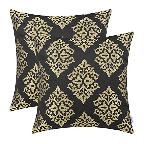 CaliTime Pack of 2 Soft Jacquard Throw Pillow Covers Cases Couch Sofa Home Decoration Vintage Damask Floral 18 X 18 inches Black Gold
