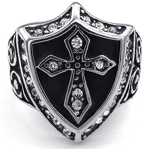 KONOV Jewelry Mens Cubic Zirconia Stainless Steel Ring, Vintage Shield Cross, Black Silver, Size 11