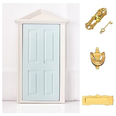 1:12 Puerta de Madera Steepletop Con Hardware Miniatura Muebles Adorno Casa de Muñecas Azul: Juguetes y juegos