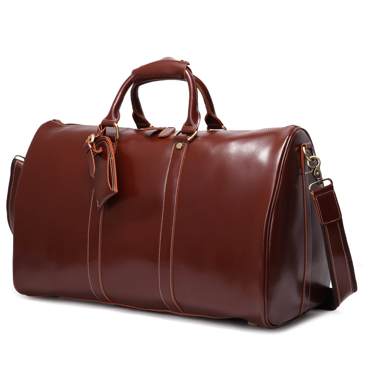 Leathario Mens Genuine Leather Deluxe Overnight Travel Duffle Weekend Bag