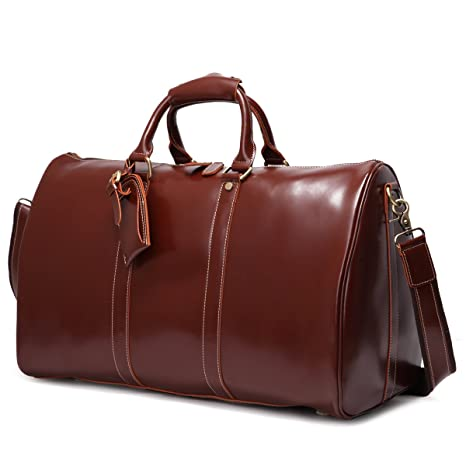 Leathario Mens Genuine Leather Overnight Travel Duffle Overnight Weekender Bag Luggage Carry On Airplane