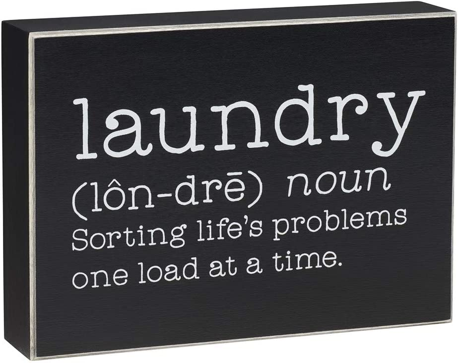 'Laundry' Funny Wood Box Sign (Definition)