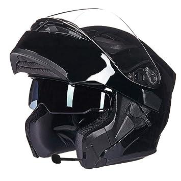 MTTK Bluetooth Flip up Casco Motocicleta Racing Casco Cara Completa Modular intercomunicador inalámbrico Casco Cuatro Estaciones Casco: Amazon.es: Deportes ...
