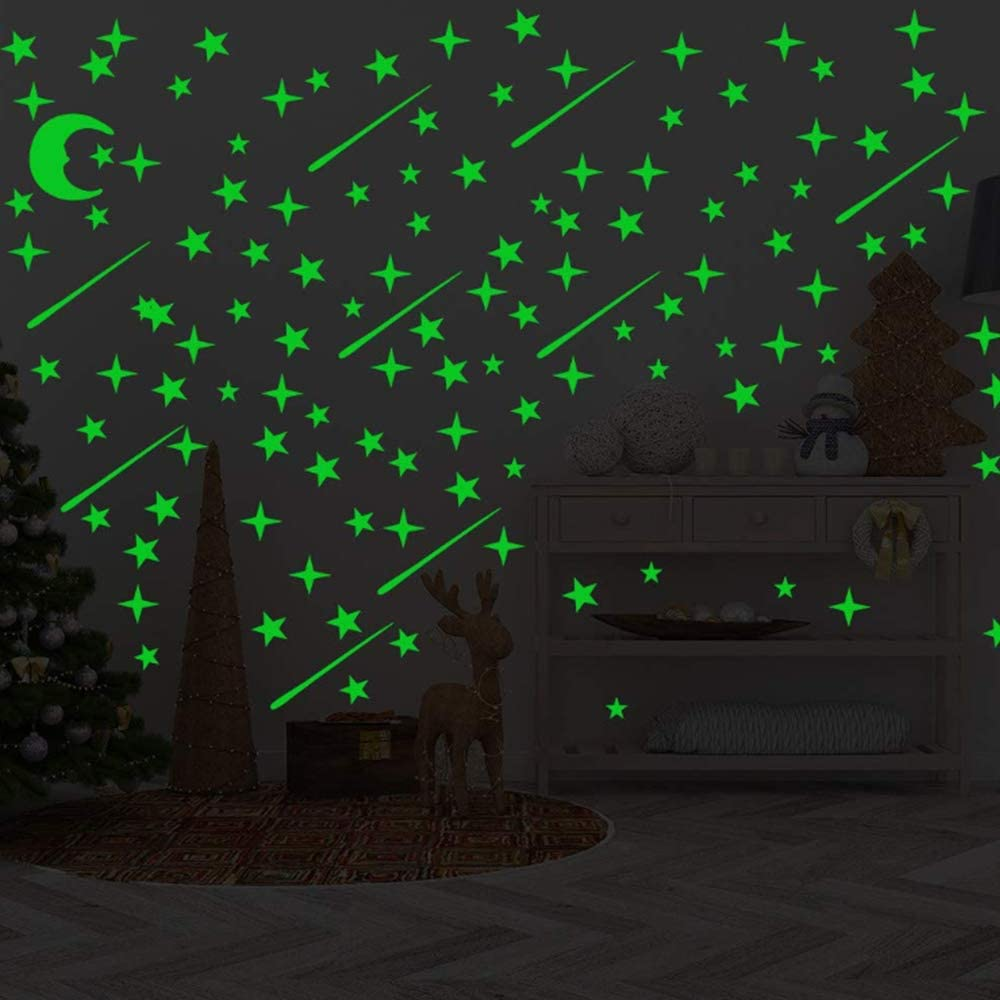 Nuluxi Self-adhesive Fluorescent Star Stickers DIY Fluorescent Starry Sky wall Stickers Starry Sky fluorescent Stickers Wall Decoration Perfect for Kids Gift Room Bedroom or Living Room Star + Dot