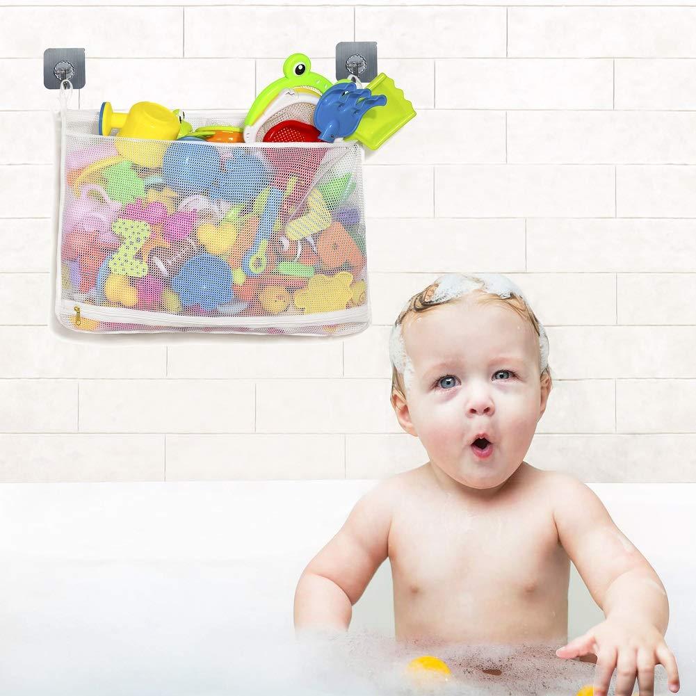 Toddler Shower Caddy for Bathroom Quick Drying Kids Toy Holder Multi-Purpose Baby Toys Net Bathtub Storage Bag 14 x 20 , White Tenrai Mesh Bath Toy Organizer