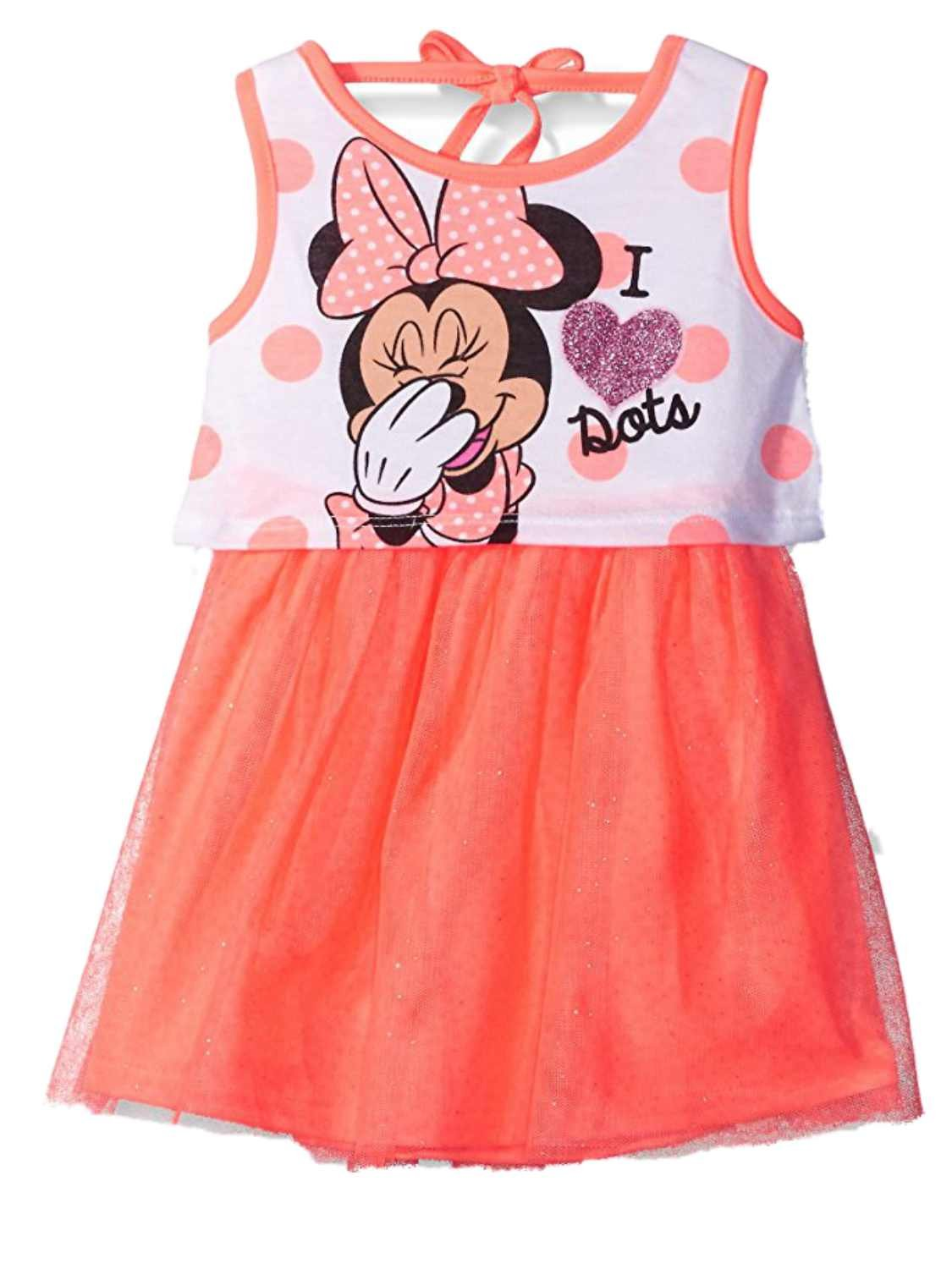 Disney Little Girls Minnie I Love Dots Jersey Dress with Glittered Tulle, Orange, 6 Little