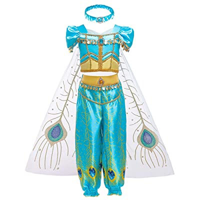 Girls Aladdin Pretend Princess Costume Jasmine Cosplay Clothing Top+Pant Set 1625#: Toys & Games