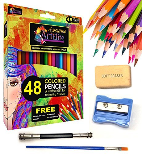 Colored Pencils - 48 Color Pencils Pre-Sharpened Set For Premium Drawing & Coloring + 4 Free Extra Art supplies -Perfect for Kids, Art Students and Professionals (48 Packs)