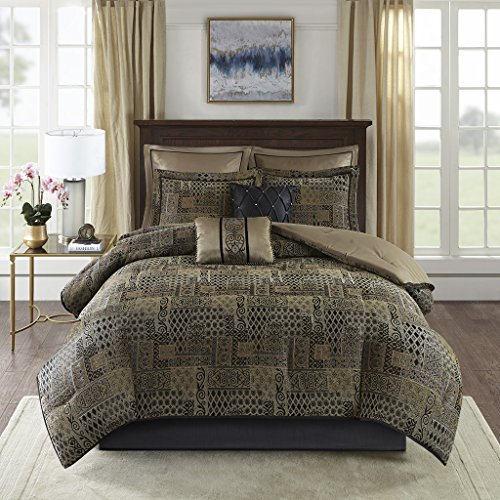 Madison Park Danville 8 Piece Chenille Jacquard Comforter Set Bedding, Queen Size, Black/Gold