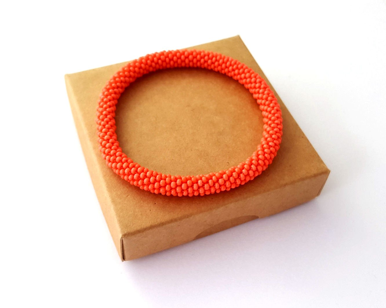 Orange Roll On Bracelet Nepal Native Bangle Beaded Wristband