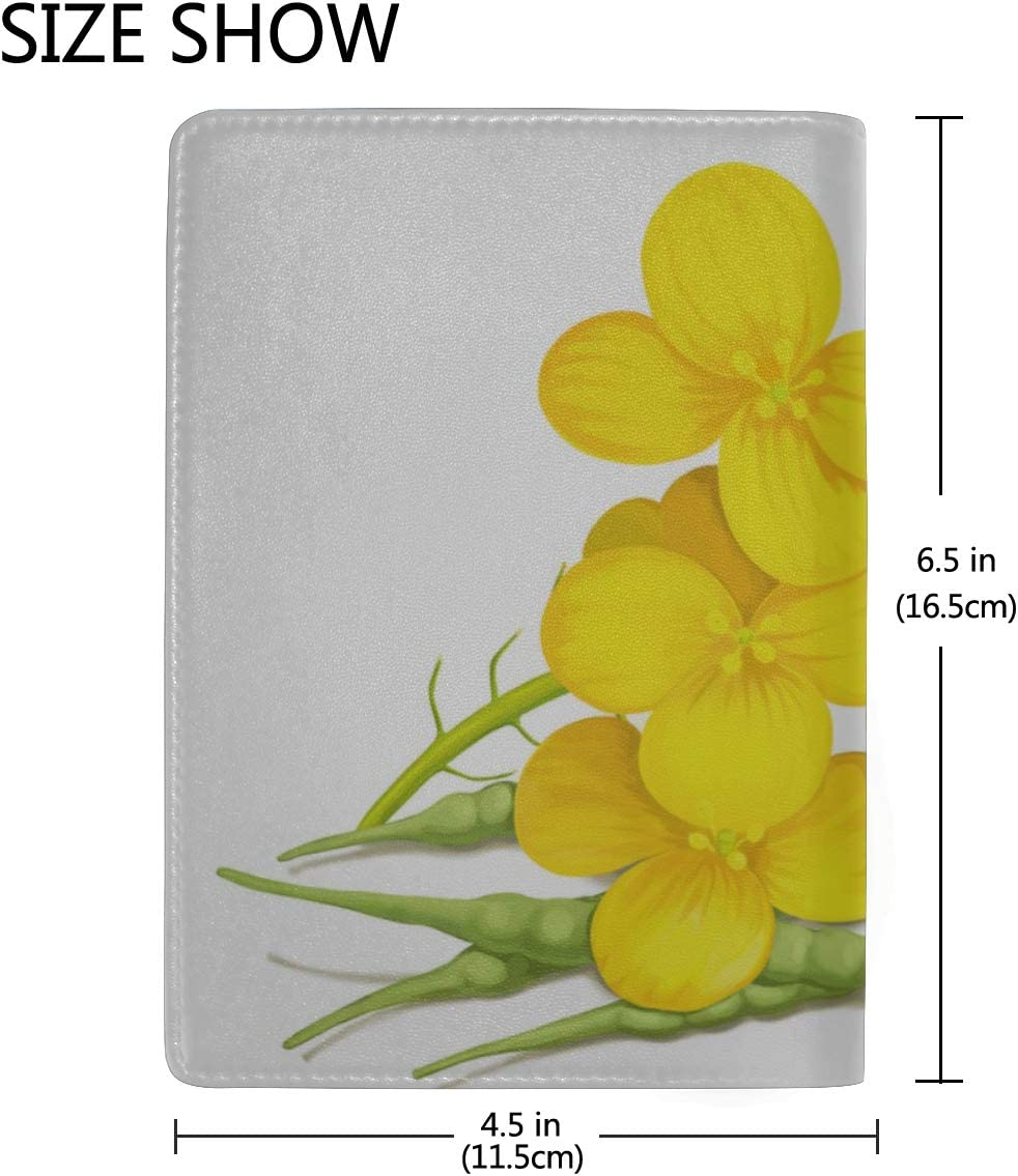 Passport Travel Case A Beautiful Bunch Of Rapeseed Stylish Pu Leather Travel Accessories Large Passport Case For Women Men