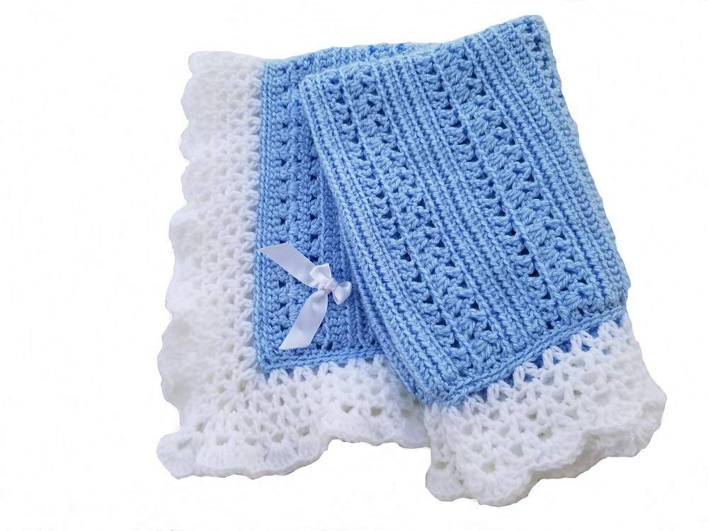 Cro-Kits Baby Blanket Crochet Kit Complete with Yarn, Crochet Hook, Weaving Needle, Ribbon and Easy to Follow Instructions. (Pale Blue)