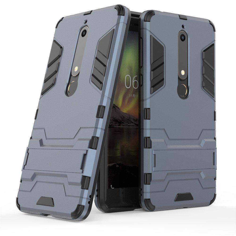 MHHQ Nokia 6 Custodia, Nokia 6 Cover, 2 in 1 nuovo Armour stile resistente Hybrid Dual Layer Armatura Defender PC + TPU Custodie con supporto [Custodia antiurto] per Nokia 6 -Red
