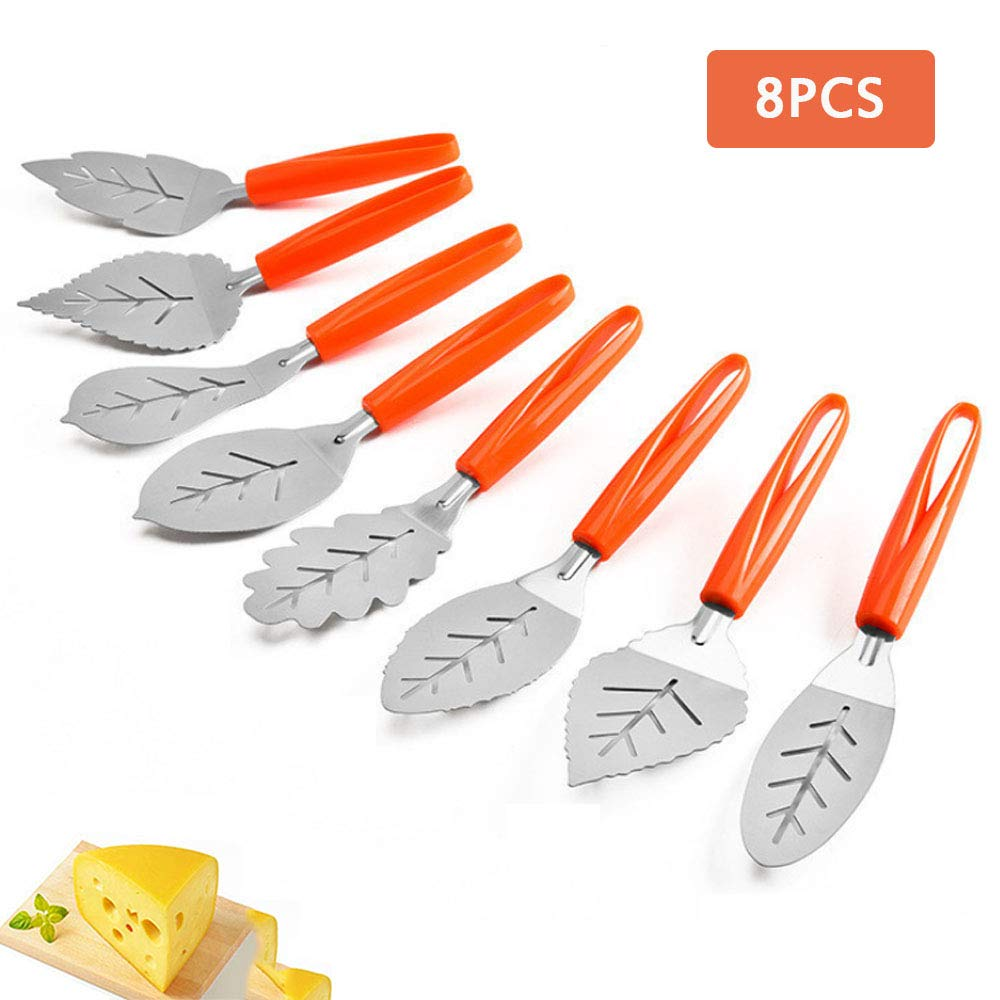 8 Pcs Set Pizza Shovel, Leaf Shaped Cake Shovel, Stainless Steel Pizza Tools, Cheese Kitchen Spatula Tools for Baking Enthusiasts by CLDGF (Image #1)