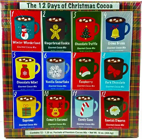 Christmas Sampler Gift 12 Days of Coffees, Teas or Cocoas (Hot Chocolate) for Christmas Gourmet Gift Box Set - Best Xmas Present For Friends, Family, Corporate, Coworkers, or Teachers (Cocoa)