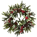 Nearly Natural 4941 Holly Berry Wreath, 22-Inch, Multicolored/Green