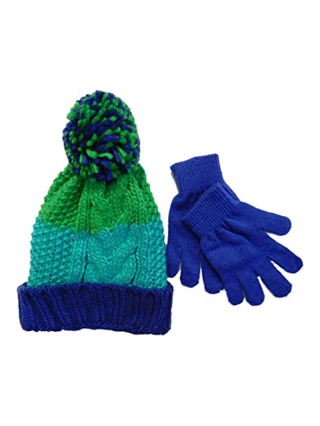 4f6a8f7c7 Amazon.com: Berkshire Girls Green & Blue Striped Cable Knit Beanie ...