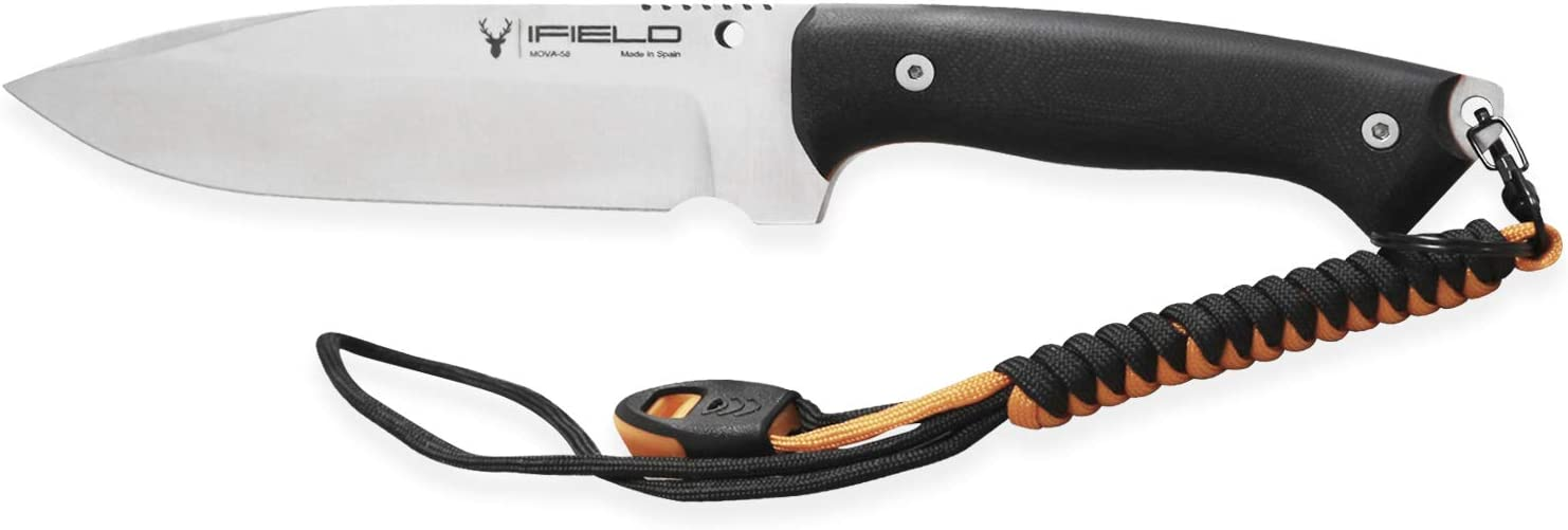 iFIELD Survival Knife Workout MOVA Satin Blade, Includes Leather Sheath, Flint and Sharpening Stone, Survival Knife, Camping Tool for Fishing, Hunting, Sport Activity